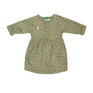 Indikidual-Tail-Dress-Khaki-Dash-Print