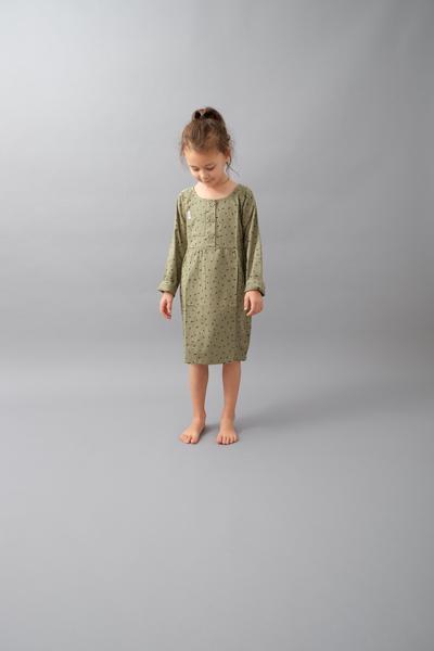 Indikidual Tail Dress Khaki Dash Print