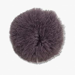 Bloomingville Round Mongolian Lambskin Cushion Purple