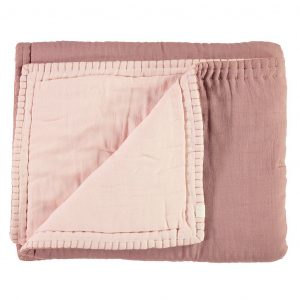 Camomile London Reversible Hand Embroidered Quilt Blush/Pearl Pink