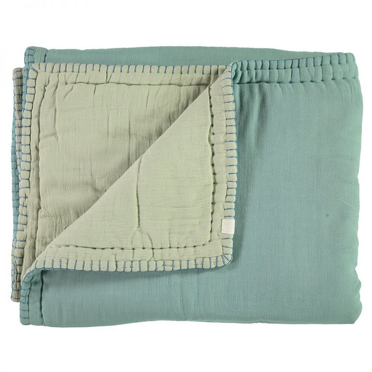 Camomile London Reversible Hand Embroidered Quilt Light Teal/Mint