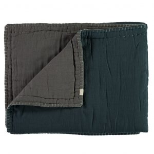 Camomile London Reversible Hand Embroidered Quilt Midnight Blue:Slate