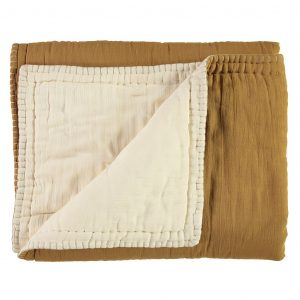 Camomile London Reversible Hand Embroidered Quilt Ochre/Champagne