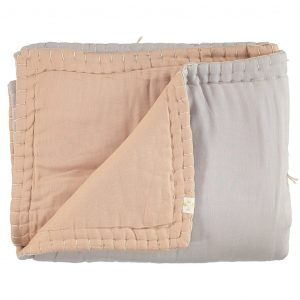 Camomile London Reversible Hand Embroidered Quilt Peach Blossom/Ash