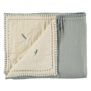 Camomile London Reversible Hand Embroidered Quilt Powder Blue/Stone