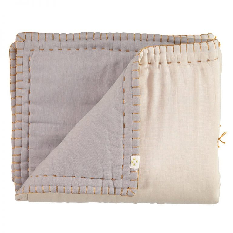 Camomile London Reversible Hand Embroidered Quilt Smoke:Stone3