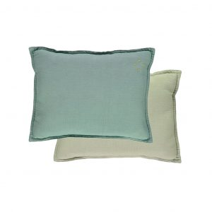 Camomile London Reversible Rectangular Cushion Small Light Teal/Mint