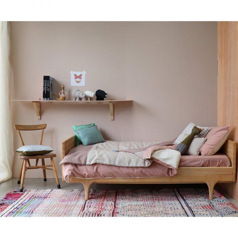 Camomile London Reversible Rectangular Cushion Small Light Teal/Mint