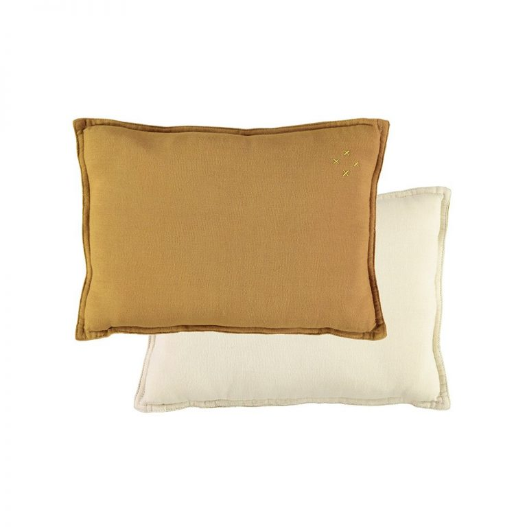 Camomile London Reversible Rectangular Cushion Small Ochre/Champagne
