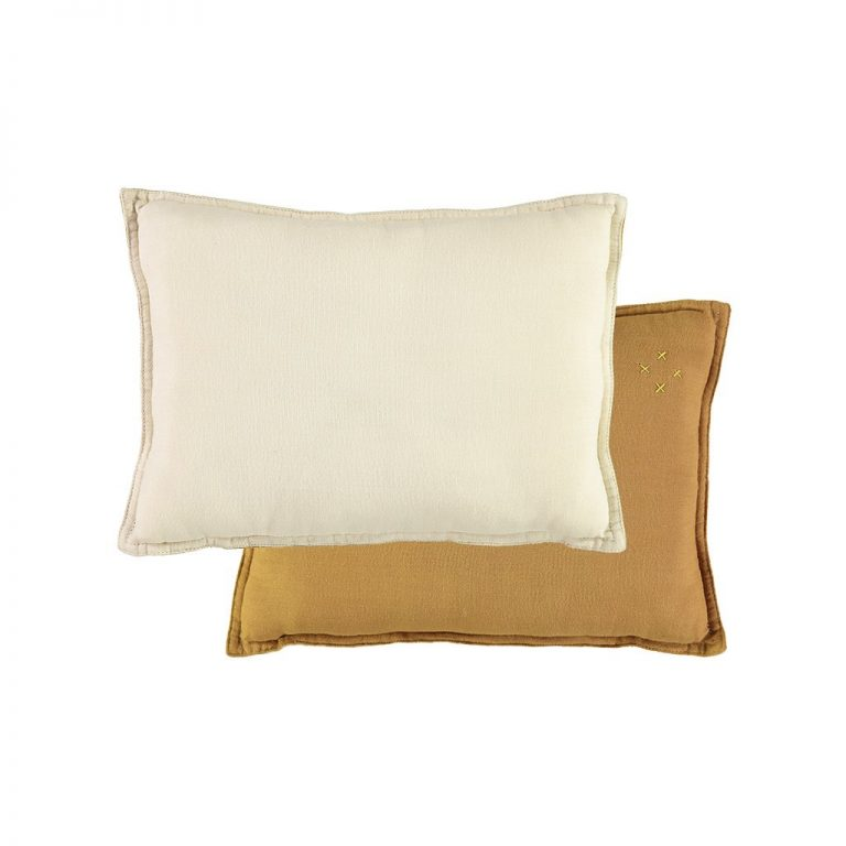 Camomile London Reversible Rectangular Cushion Small Ochre/ Champagne