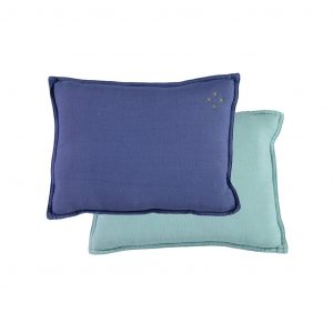 Camomile London Reversible Rectangular Cushion Small Royal Blue/Light Teal