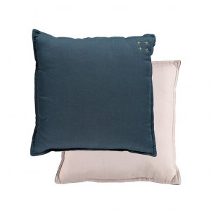 Camomile London Reversible Square Cushion Small Midnight Blue/Pearl Pink