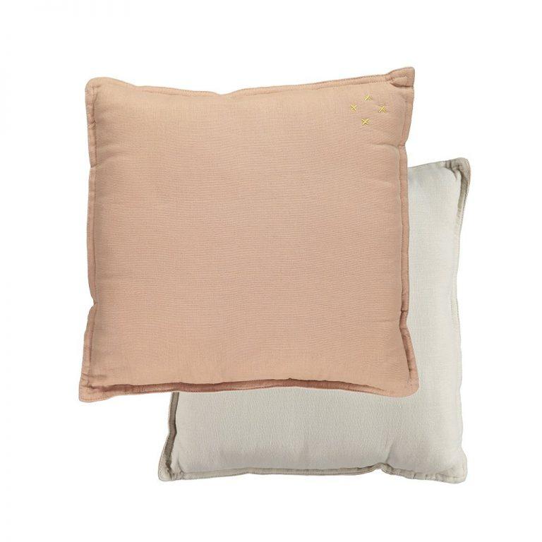 Camomile London Reversible Square Cushion Small Peach Blossom/Stone
