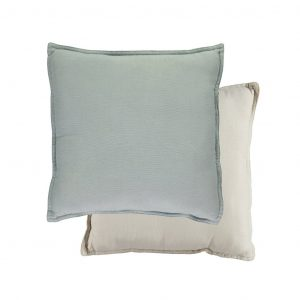 Camomile London Reversible Square Cushion Small Powder Blue/Stone