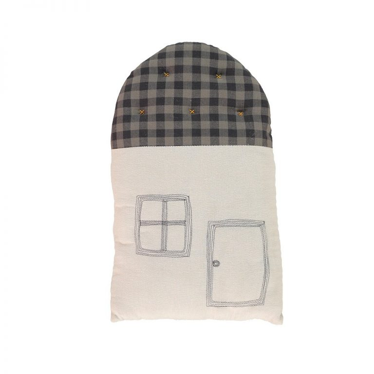 Camomile London Small House Cushion Ash/Gingham