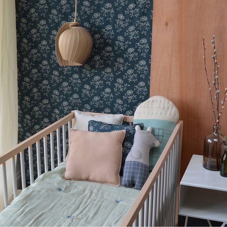 Camomile London Small House Cushion Light Teal/Mint