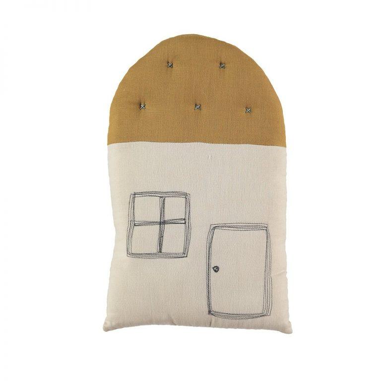 Camomile London Small House Cushion Stone/Ochre