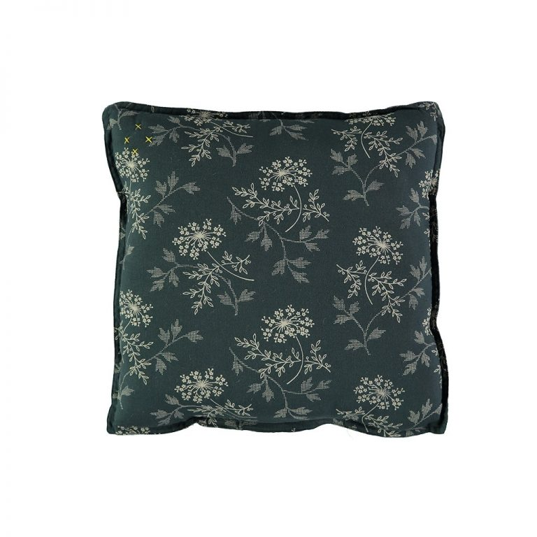 Camomile London Square Cushion Small Hanako Floral Thunder Blue