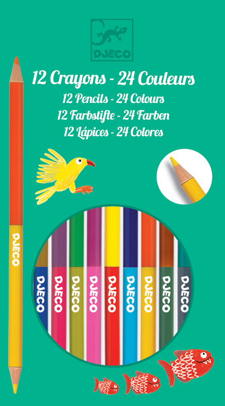 Djeco Double Ended Pencils x 12 (24 Colours)