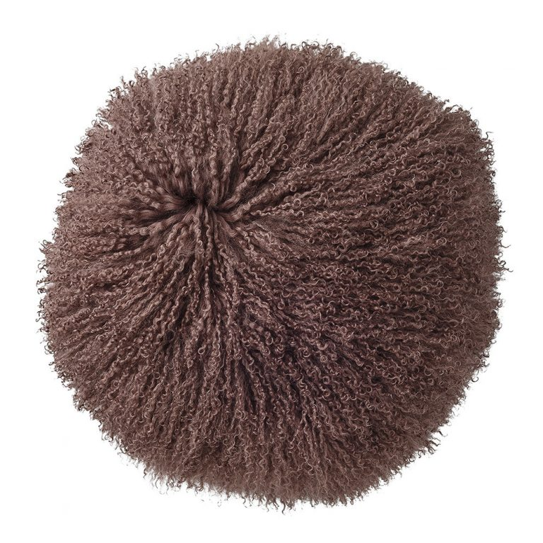 Bloomingville Round Mongolian Lambskin Cushion Rose