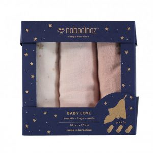 Nobodinoz Baby Love Swaddle Box Set of 3 Bloom Pink