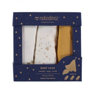 Nobodinoz Baby Love Swaddle Box Set of 3 Farniente Yellow