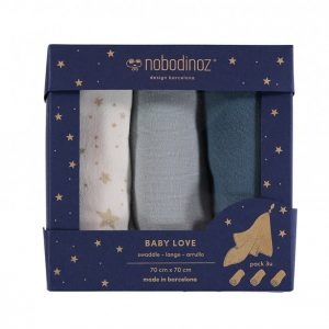 Nobodinoz Baby Love Swaddle Box Set of 3 Night Blue
