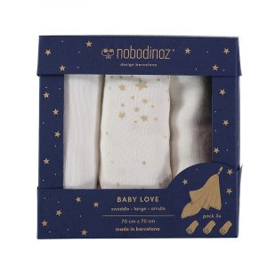 Nobodinoz Baby Love Swaddle Box Set of 3 White