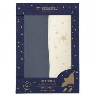 Nobodinoz Butterfly Swaddle Box Set of 2 Blue