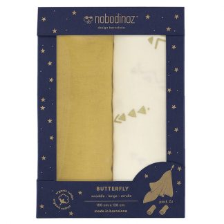 Nobodinoz Butterfly Swaddle Box Set of 2 Farniente Yellow