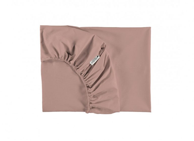Nobodinoz Tibet Crib Fitted Sheet Misty Pink
