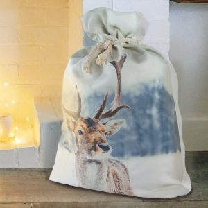 Down to the Woods Santa Sack Snow Reindeer