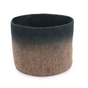 Muskhane Bicolour Calabash Storage Basket Stone/Stormy Grey
