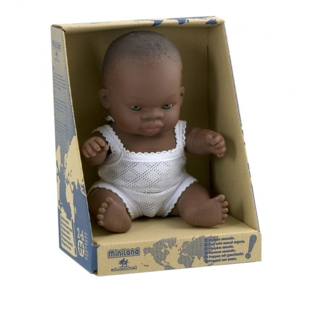 Miniland Anatomically Correct Baby Doll African Girl 21cm