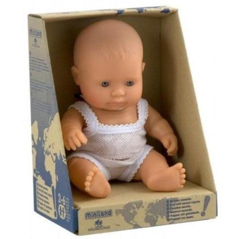 Miniland Anatomically Correct Baby Doll Caucasian Girl 21cm