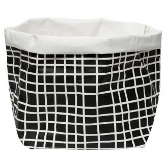 Wash Paper Bag Black/White Grid