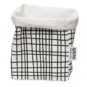 Wash Paper Bag Box White/Black Grid