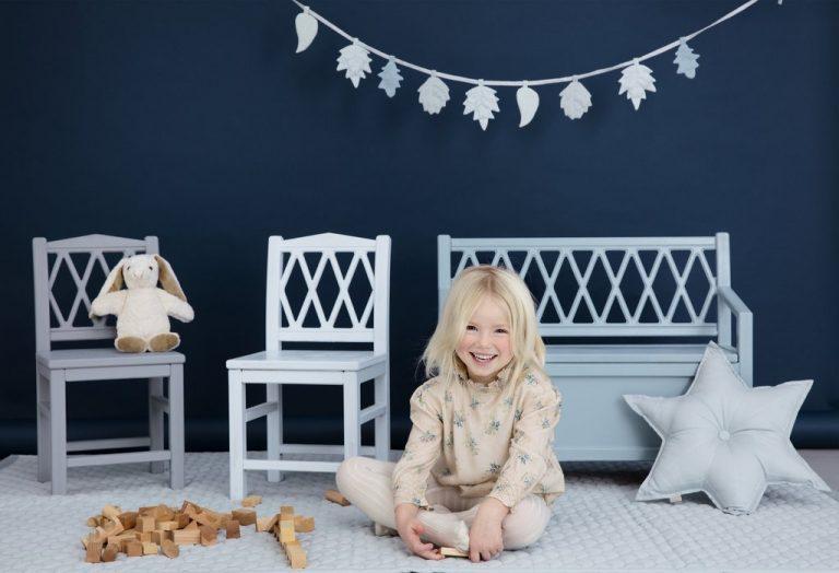 Cam Cam Copenhagen Harlequin Kids Storage Bench Grey