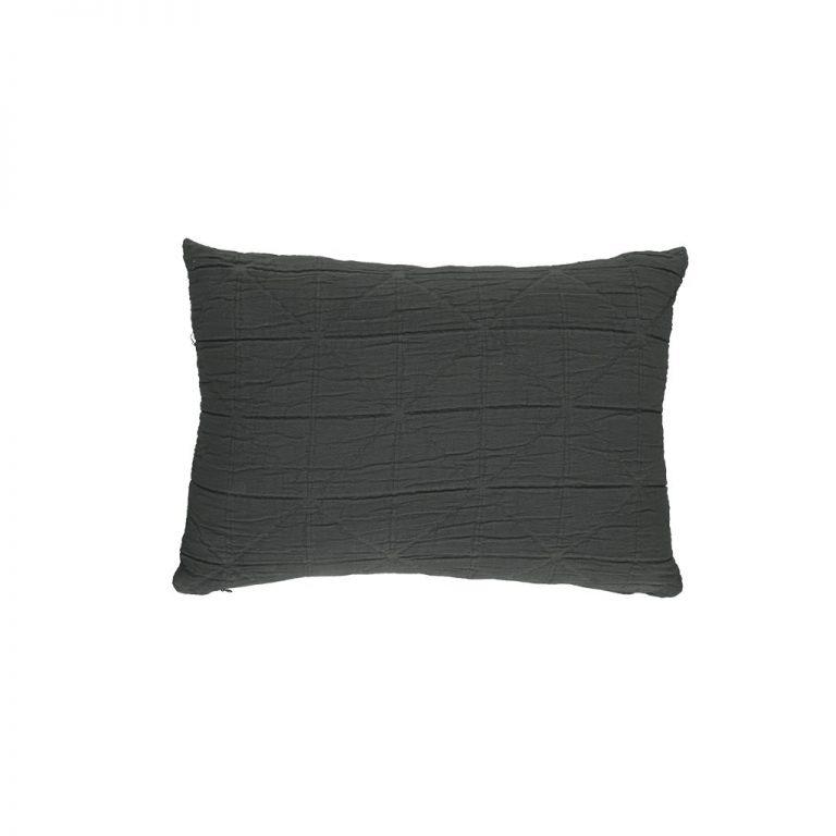 Camomile London Diamond Cushion Cover Charcoal