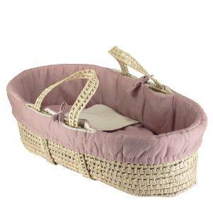 Camomile London Moses Basket With 4 Piece Set Blush/Stone