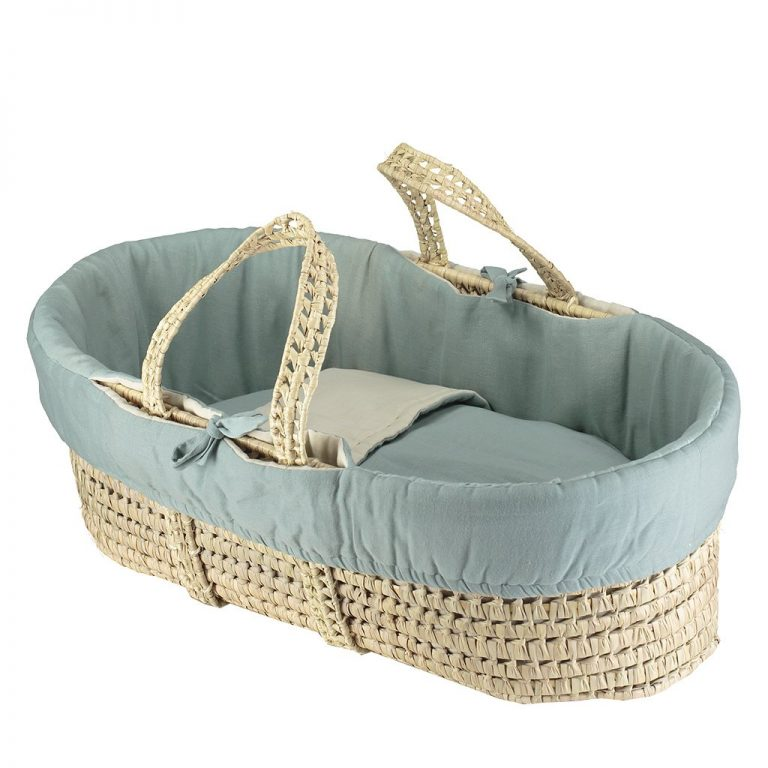Camomile London Moses Basket With 4 Piece Set Light Teal/Stone