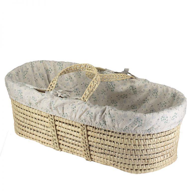 Camomile London Moses Basket With 4 Piece Set Minako Cornflower