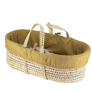 Camomile London Moses Basket With 4 Piece Set Ochre/Smoke Grey