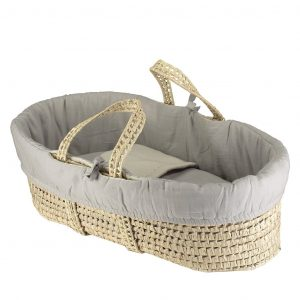 Camomile London Moses Basket With 4 Piece Set Soft Grey/Stone