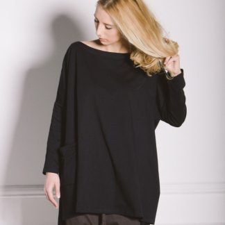 Kin Womens Square Long Sleeve Tee Black