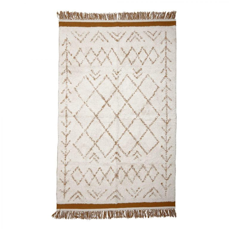 Bloomingville Cotton Rug White Mustard