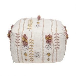 Bloomingville Cotton Pouf White / Pink