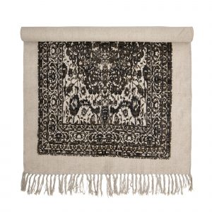 Bloomingville Cotton Printed Dhurri Rug Black & Natural