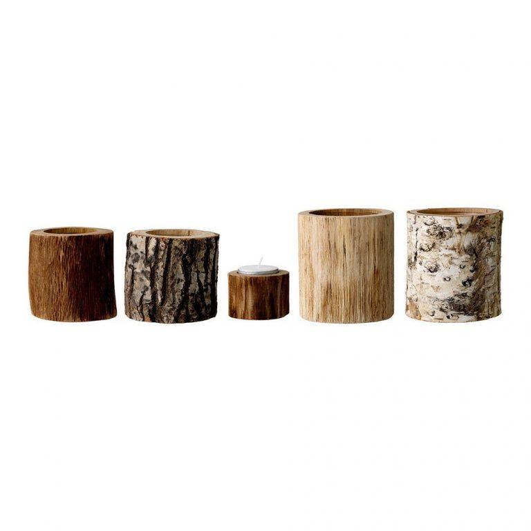 Bloomingville Tealight Votive Birch Wood Set of 5