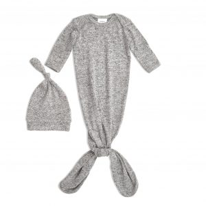 Aden & Anais Snuggle Knit Gown and Hat Heather Grey